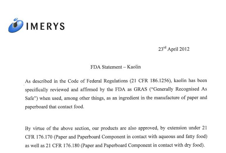 FDA Statement, IMA Clays, April 2012